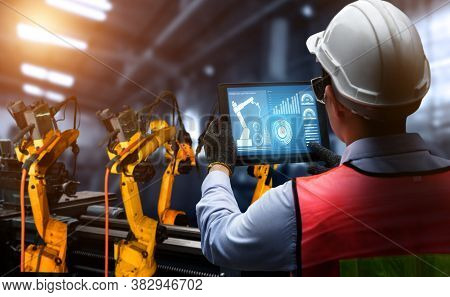 Smart Industry Robot Arms For Digital Factory Production Technology Showing Automation Manufacturing