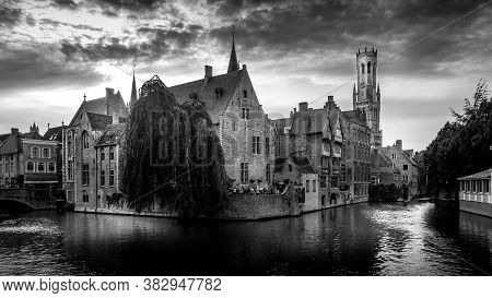 Brugge/belgium - Sept. 18 2018: Black And White Photo Of Historic Buildings And The Belfort Tower Vi