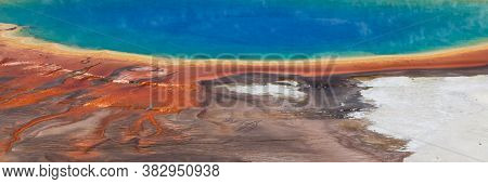 The Rim Of Grand Prismatic Springs In Yellowstone National Park Showing Details Of Color Variations