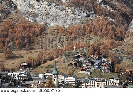 Zermatt, Switzerland- Nov 14, 2015: Alpine Landscape At The Foot Of Matterhorn Mountain On Nov 14, 2