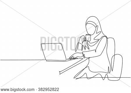 One Continuous Line Drawing Of Young Muslimah Businesswomen Reading Business Presentation On Laptop