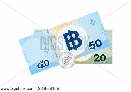 75 Baht Thai Banknote Money, Thai Currency Seventy Five Thb Concept, Pile Of Paper Money Isolated On