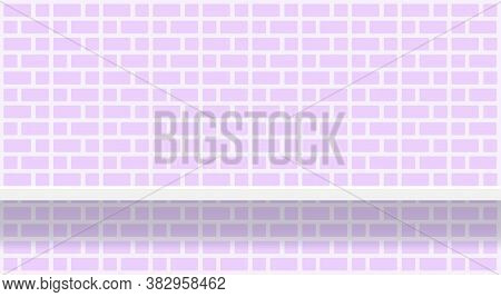 Purple Soft Brick Wall Pattern With Shelf For Background, Pastel Purple Wall Brick Pattern, Brick Ti
