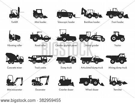 Special Machinery, Set Of Construction Equipment. Collection Of Silhouettes Of Working Equipment And