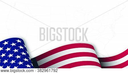 American Flag In Motion, Fluttering In Wind On Background Map With Borders Of States Of America. Mai