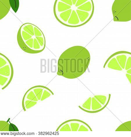 Citrus Fruit. Lime With Green Leaves. Lime Whole And Cut, Half And Slices. Modern Vector Seamless Pa