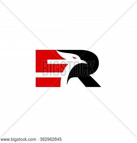 Initial Er Eagle Logo Vector Design, Isolated On White Background