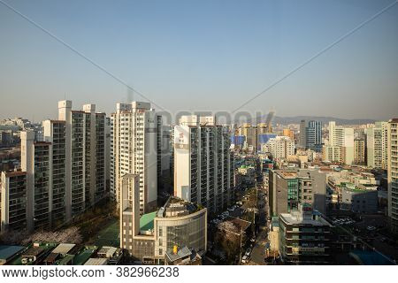 Seoul,south Korea-march 2020: Aerial Landscape View Apartment And Residential Building In Seoul Metr