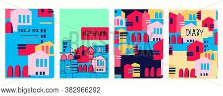 Set Of Cover Page Vector Templates Based On Seamless Patterns With Abstract Modern Cityscapes. Perfe