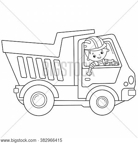 Coloring Page Outline Of Cartoon Lorry Or Dump Truck. Construction Vehicles. Coloring Book For Kids.