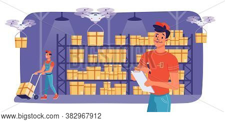 Warehouse Logistics And Cargo Box Delivery, Storage Workers, Vector Flat Design. Modern Warehouse Dr