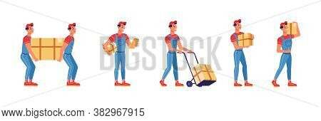 Movers Service Men And Box Delivery Of Home Move, Vector Flat Isolated Set. Movers Hand Work Carryin