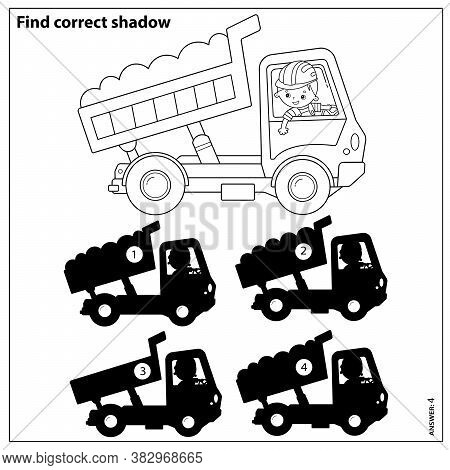 Puzzle Game For Kids. Find Correct Shadow. Lorry Or Dump Truck. Construction Vehicles. Coloring Book