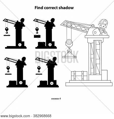 Puzzle Game For Kids. Find Correct Shadow. Elevating Crane. Construction Vehicles. Coloring Book For