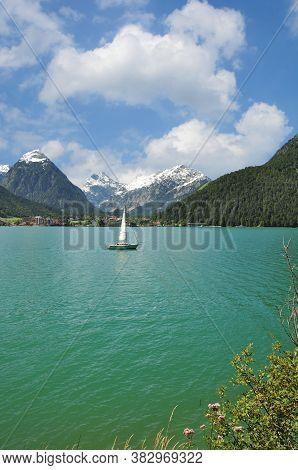 View To Village Of Pertisau At Lake Achensee In Tirol,austria