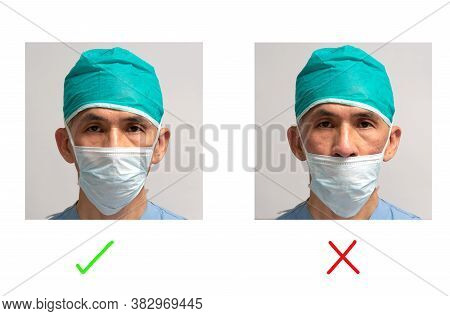 Portrait Of Asian Senior Adult Male Surgeon Demonstrating How To Wear Mask Correctly And Incorrectly