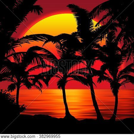 Sunset Beach With Palms. Sunset Landscape With Colorful Sunset Sky Gradient.red Sun Reflecting In Th