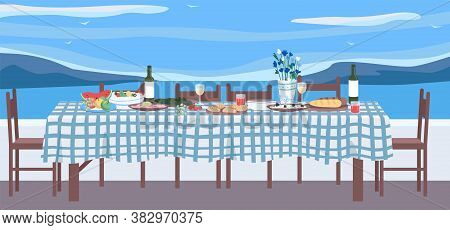 Greek Dinner Flat Color Vector Illustration. Table With National Cuisine. Traditional Culinary In Gr