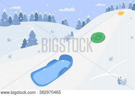 Snow Hills With Sleds Semi Flat Vector Illustration. Winter Scenery For Children. Hills For Family R