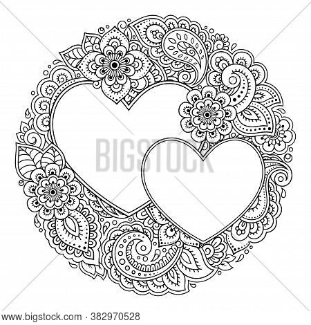 Round Decorative Frame With Floral Pattern In Forn Of Heart In Mehndi Style. Antistress Coloring Boo