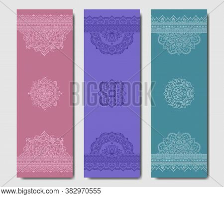 Set Of Design Yoga Mats. Floral And Mandala Pattern In Oriental Style For Decoration Sport Equipment
