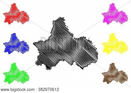 Chengdu City (people's Republic Of China, Sichuan Province) Map Vector Illustration, Scribble Sketch