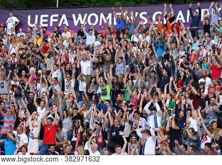 Kyiv, Ukraine - May 24, 2018: People Enjoy Watching The Uefa Women's Champions League Final 2018 Gam