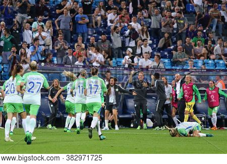 Kyiv, Ukraine - May 24, 2018: Vfl Wolfsburg Players React After Scored A Goal During The Uefa Women