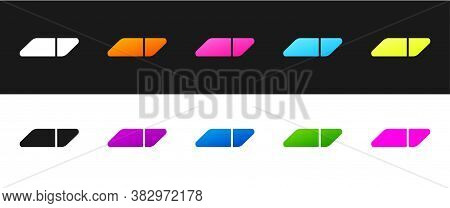 Set Eraser Or Rubber Icon Isolated On Black And White Background. Vector Illustration