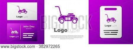 Logotype Lawn Mower Icon Isolated On White Background. Lawn Mower Cutting Grass. Logo Design Templat