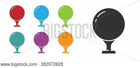 Black Golf Ball On Tee Icon Isolated On White Background. Set Icons Colorful. Vector Illustration