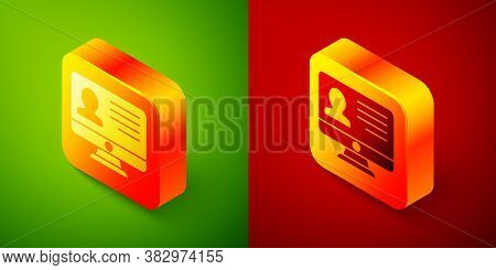 Isometric Computer Monitor With Resume Icon Isolated On Green And Red Background. Cv Application. Se