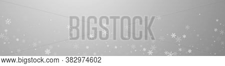 Sparse Snowfall Christmas Background. Subtle Flying Snow Flakes And Stars On Grey Background. Breath