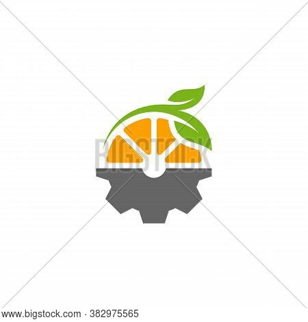 Gear With Modern Fresh Orange Logo Vector Illustration, Fresh Orange Slice Logo Design Template