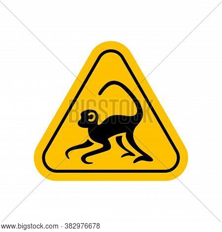 Monkey Symbol In Warning Sign, Caution Monkey Sign Yellow