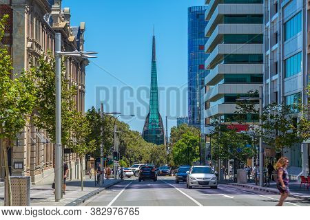 Street View Of Perth With Swan Bell Tower