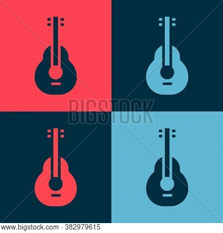 Pop Art Mexican Guitar Icon Isolated On Color Background. Acoustic Guitar. String Musical Instrument