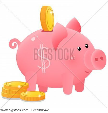 Color Image Of Cute Piggy Bank Or Moneybox With Coins On White Background. Money And Finance. Vector