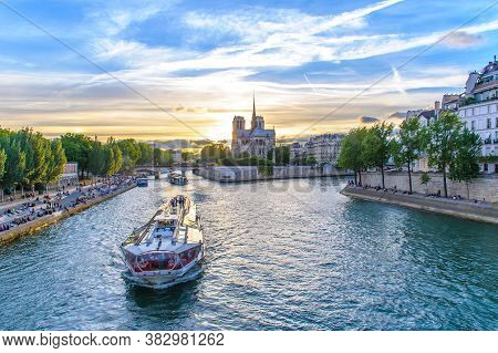 Landscape Of Paris By The Sunset In France
