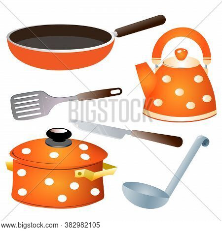 Set Of Kitchen Dishes. Color Images Of Pan, Kettle, Knife,  Serving Spoon And Skillet. Vector.
