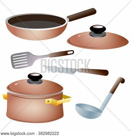 Set Of Kitchen Dishes. Color Images Of Pan, Kettle, Knife,  Serving Spoon And Skillet.
