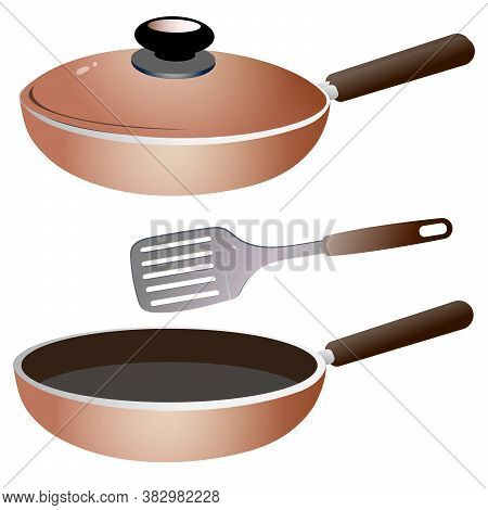 Set Of Kitchen Dishes. Color Images Of Skillet With Cap And Of Open Frying Pan.