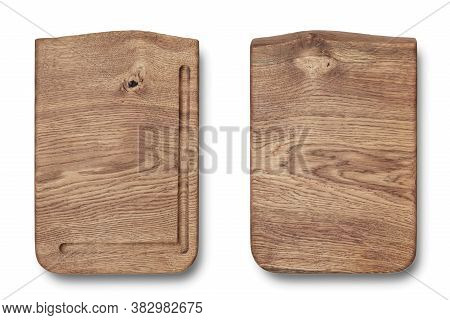Wooden Chopping Board Top View Isolated On White Background. Texture Of Wooden Chopping Board. Two S