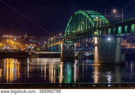 Belgrade / Serbia - October 28, 2016: Old Sava Bridge Across The River Sava In Belgrade, Serbia. It