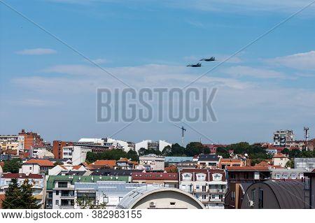 Belgrade / Serbia - September 8, 2016: A Pair Of Serbian Air Force Mig-29 Jet Fighters In Low Flight