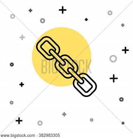 Black Line Chain Link Icon Isolated On White Background. Link Single. Hyperlink Chain Symbol. Random
