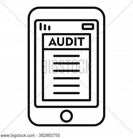 Smartphone Audit Icon. Outline Smartphone Audit Vector Icon For Web Design Isolated On White Backgro