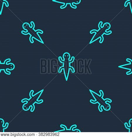 Green Line Lizard Icon Isolated Seamless Pattern On Blue Background. Vector