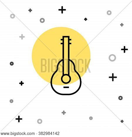 Black Line Mexican Guitar Icon Isolated On White Background. Acoustic Guitar. String Musical Instrum