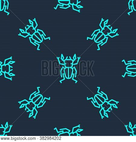 Green Line Beetle Deer Icon Isolated Seamless Pattern On Blue Background. Horned Beetle. Big Insect.